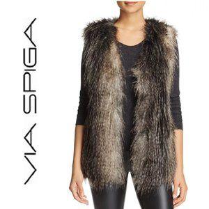 Via Spiga Faux Fur Vest w/ Faux Leather trim
